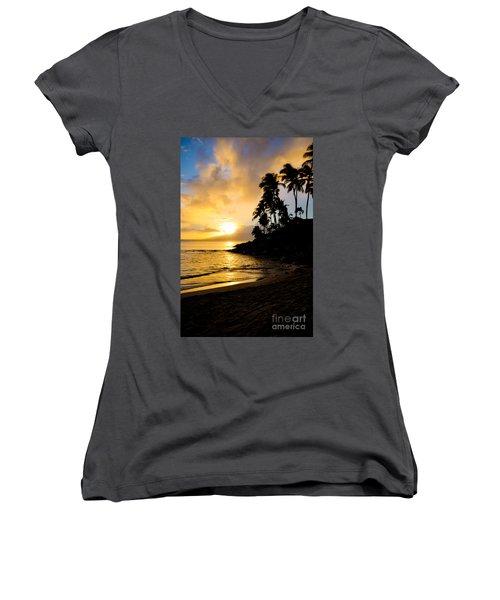 Napili Sunset Evening  Women's V-Neck T-Shirt (Junior Cut) by Kelly Wade