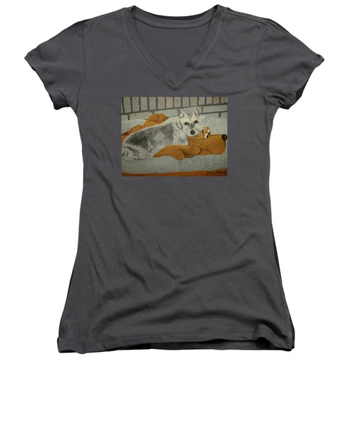 Naptime With My Buddy Women's V-Neck (Athletic Fit)