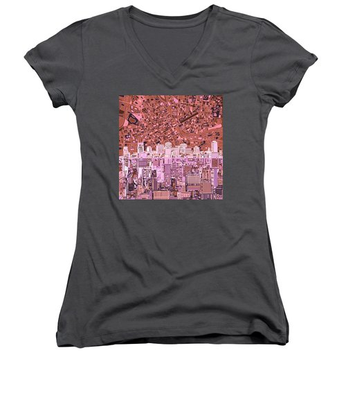 Nashville Skyline Abstract 7 Women's V-Neck (Athletic Fit)