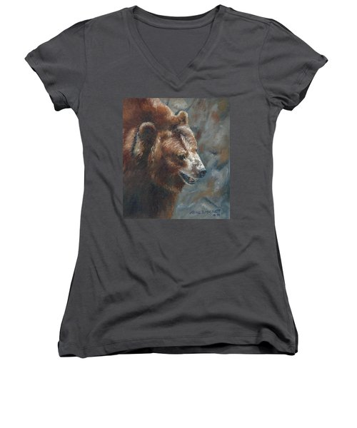 Nate - The Bear Women's V-Neck (Athletic Fit)