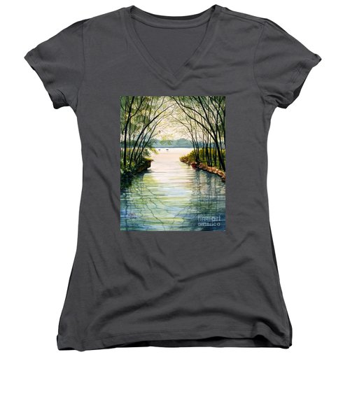 Nature's Cathedral Women's V-Neck T-Shirt (Junior Cut) by Marilyn Smith