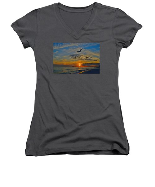 Women's V-Neck T-Shirt (Junior Cut) featuring the photograph Navarre Beach And Pier Sunset Colors With Gulls And Waves by Jeff at JSJ Photography
