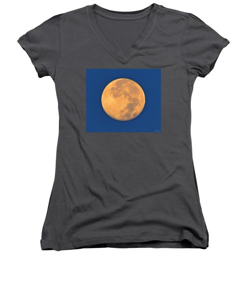 Women's V-Neck T-Shirt (Junior Cut) featuring the photograph Navarre Beach Full Moon At Sunrise by Jeff at JSJ Photography