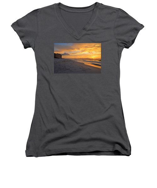 Navarre Pier And Navarre Beach Skyline At Sunrise With Gulls Women's V-Neck T-Shirt (Junior Cut) by Jeff at JSJ Photography