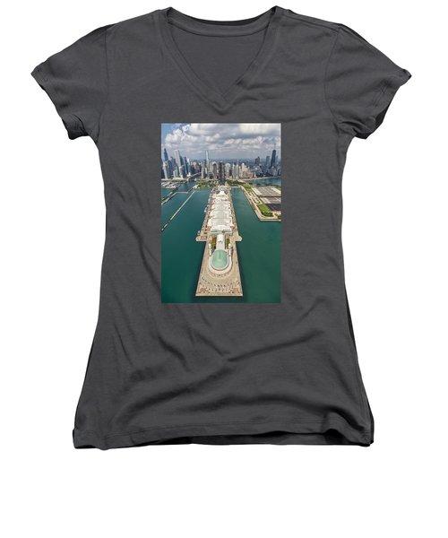 Navy Pier Chicago Aerial Women's V-Neck T-Shirt