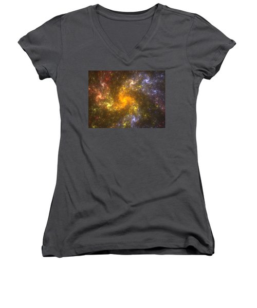 Women's V-Neck T-Shirt (Junior Cut) featuring the digital art Nebula by Svetlana Nikolova