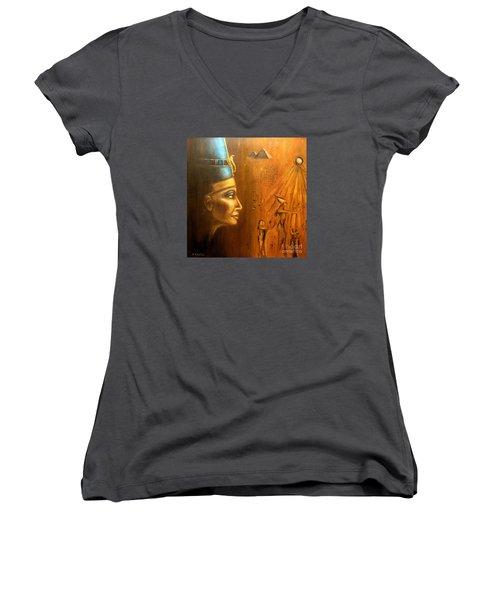 Women's V-Neck T-Shirt (Junior Cut) featuring the painting Nefertiti by Arturas Slapsys