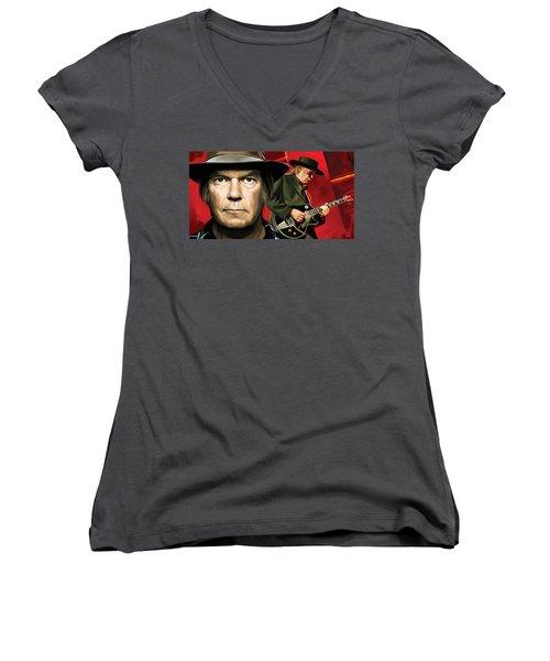 Neil Young Artwork Women's V-Neck T-Shirt (Junior Cut) by Sheraz A