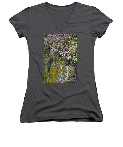 Neon Leaves No 2 Women's V-Neck T-Shirt