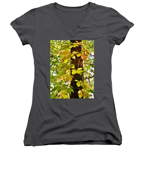 Neon Leaves Women's V-Neck (Athletic Fit)