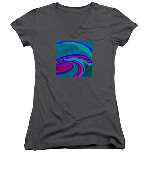 Women's V-Neck T-Shirt (Junior Cut) featuring the painting Neon Wave C2014 by Paul Ashby