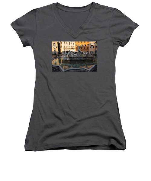 Women's V-Neck T-Shirt (Junior Cut) featuring the photograph Neptune Fountain Rome Italy by Georgia Mizuleva