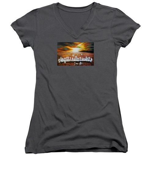Never Ending Last Supper Women's V-Neck T-Shirt (Junior Cut) by Raymond Perez
