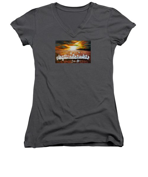 Never Ending Last Supper Women's V-Neck T-Shirt