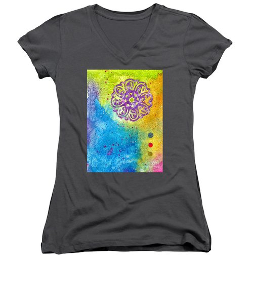 New Age #7 Women's V-Neck T-Shirt (Junior Cut) by Desiree Paquette