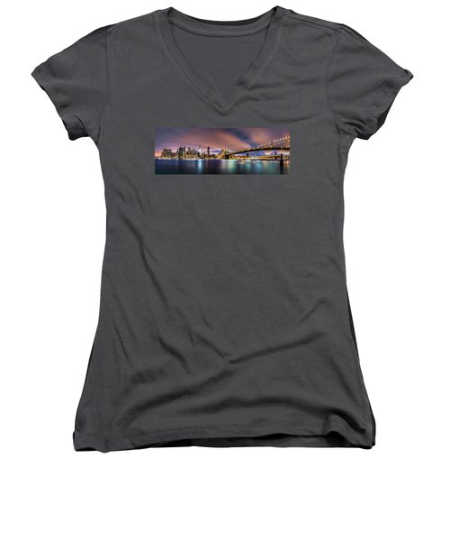 New Dawn Over New York Women's V-Neck (Athletic Fit)