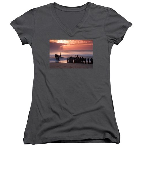 New Day Dawning Women's V-Neck (Athletic Fit)