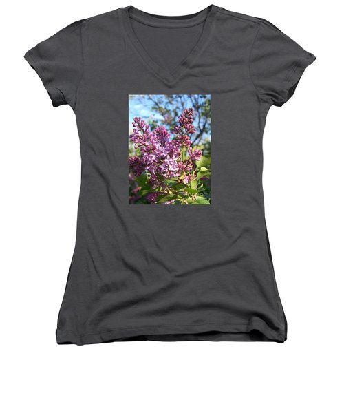 Women's V-Neck T-Shirt (Junior Cut) featuring the photograph Purple Lilac by Eunice Miller