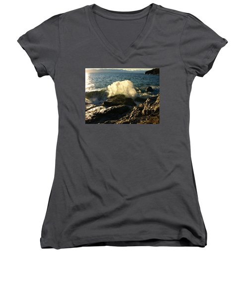 Women's V-Neck T-Shirt (Junior Cut) featuring the photograph New Heights by James Peterson
