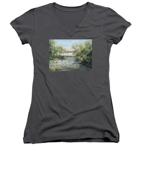New Jersey's Last Covered Bridge Women's V-Neck (Athletic Fit)
