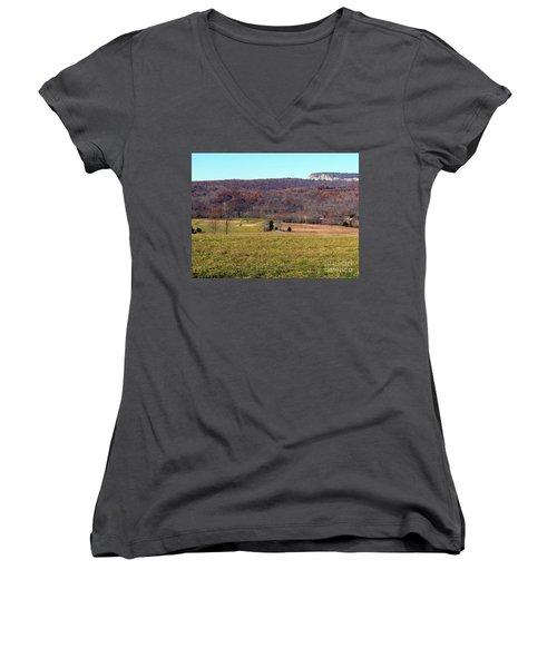 New Paltz Beauty Women's V-Neck T-Shirt (Junior Cut) by Ed Weidman