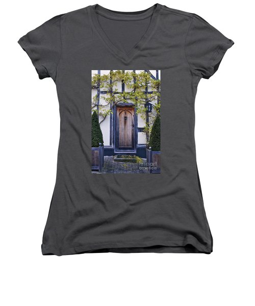 New Photographic Art Print For Sale Doorway 2 In Medieval Lavenham Women's V-Neck
