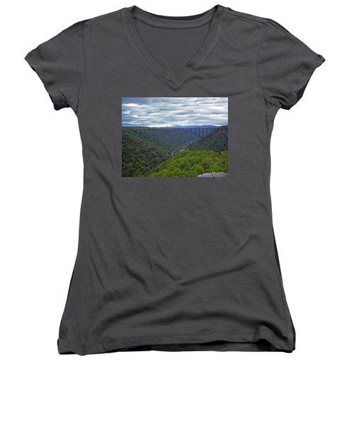 New River Bridge Women's V-Neck T-Shirt (Junior Cut) by Aimee L Maher Photography and Art Visit ALMGallerydotcom