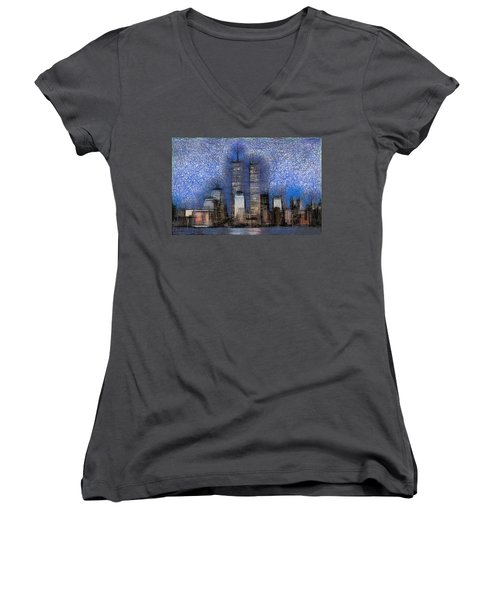 New York City Blue And White Skyline Women's V-Neck T-Shirt (Junior Cut) by Georgi Dimitrov