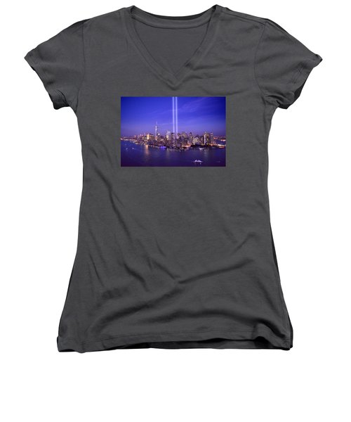Women's V-Neck T-Shirt (Junior Cut) featuring the photograph New York City Tribute In Lights World Trade Center Wtc Manhattan Nyc by Jon Holiday