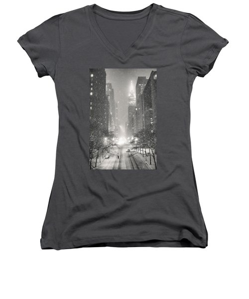 New York City - Winter Night Overlooking The Chrysler Building Women's V-Neck T-Shirt