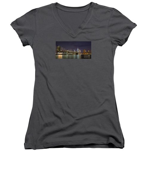 Women's V-Neck T-Shirt (Junior Cut) featuring the photograph New York Nights by Keith Kapple