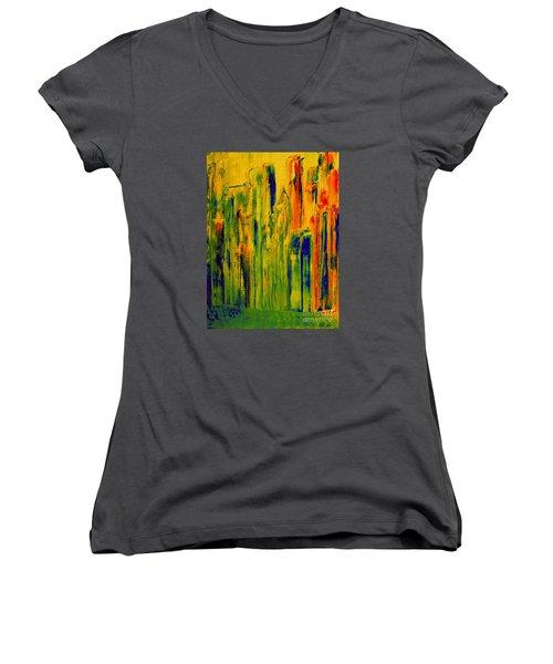 New York On A Hot June Morning Women's V-Neck T-Shirt (Junior Cut) by Bill OConnor