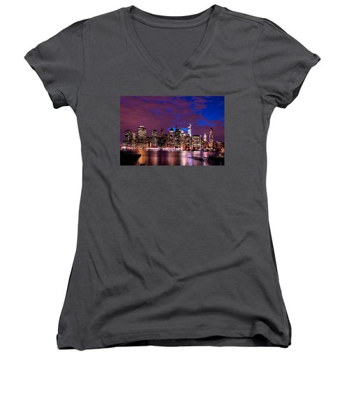 Women's V-Neck T-Shirt (Junior Cut) featuring the photograph New York Skyline Magic Hour-- From Brooklyn Heights Promenade by Mitchell R Grosky