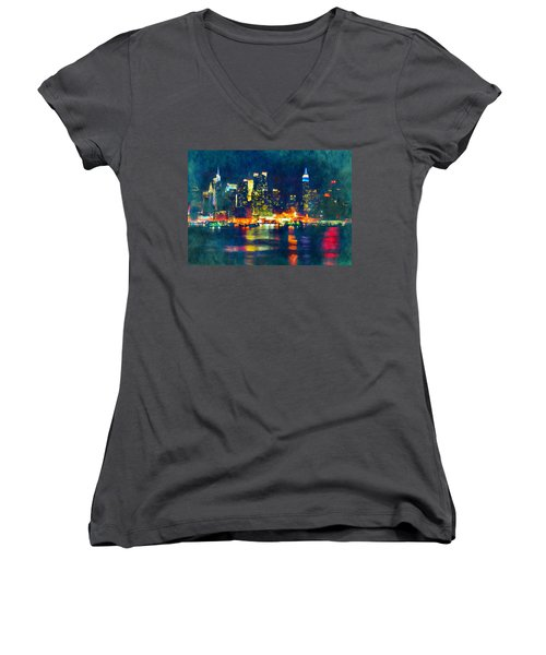New York State Of Mind Abstract Realism Women's V-Neck