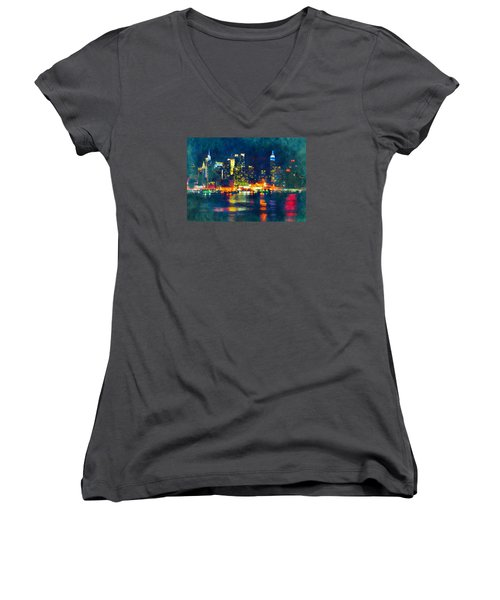 New York State Of Mind Abstract Realism Women's V-Neck (Athletic Fit)