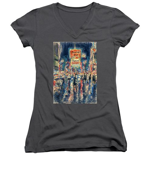 New York Times Square 79 - Watercolor Art Painting Women's V-Neck