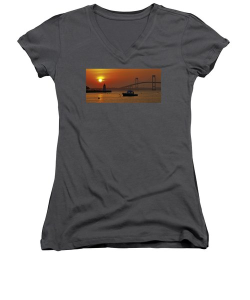 Newport Sunset Women's V-Neck T-Shirt