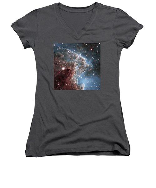 Ngc 2174-nearby Star Factory Women's V-Neck T-Shirt (Junior Cut) by Barry Jones