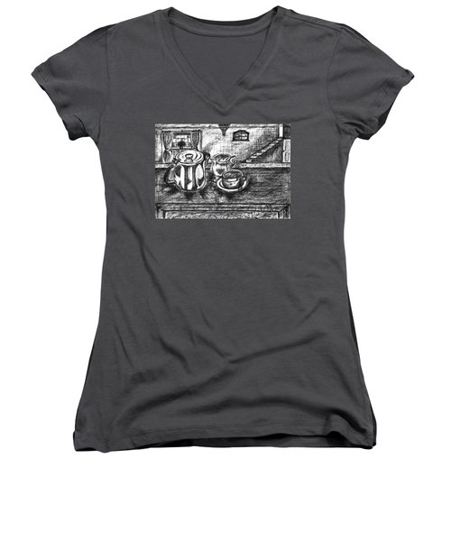 Women's V-Neck T-Shirt (Junior Cut) featuring the drawing Nice Cup Of Tea by Teresa White