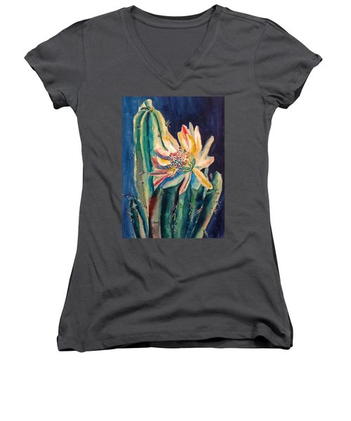 Night Blooming Cactus Women's V-Neck