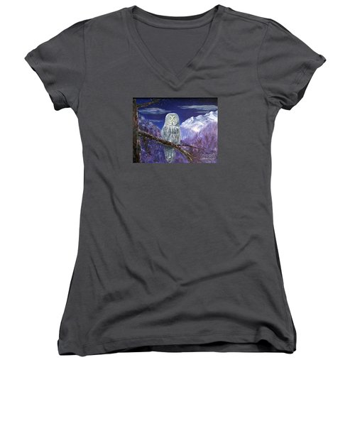 Women's V-Neck T-Shirt (Junior Cut) featuring the painting Night Hunter by Lee Piper