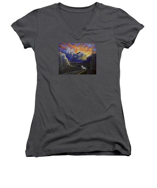 Night Life Women's V-Neck T-Shirt (Junior Cut) by Jack Malloch