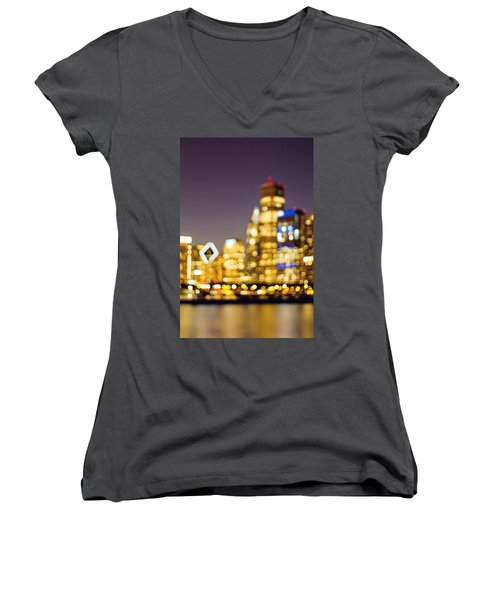 Night Lights - Abstract Chicago Skyline Women's V-Neck (Athletic Fit)