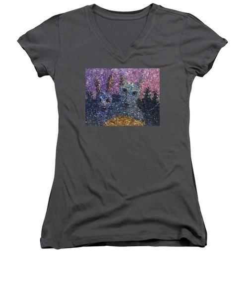 Women's V-Neck T-Shirt (Junior Cut) featuring the painting Night Offering by James W Johnson