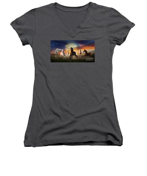 Night Play Women's V-Neck T-Shirt