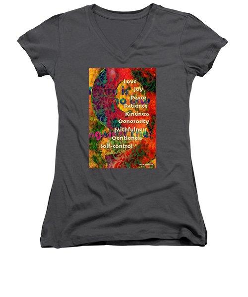 Nine Gifts Women's V-Neck T-Shirt (Junior Cut) by Chuck Mountain