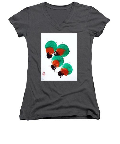 Nippon No Kabutomushi Women's V-Neck T-Shirt (Junior Cut) by Roberto Prusso