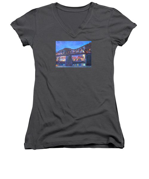 City At Night Downtown Evening Scene Original Contemporary Painting For Sale Women's V-Neck T-Shirt (Junior Cut) by Quin Sweetman