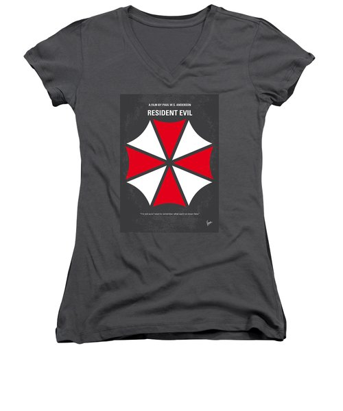 No119 My Resident Evil Minimal Movie Poster Women's V-Neck T-Shirt (Junior Cut)