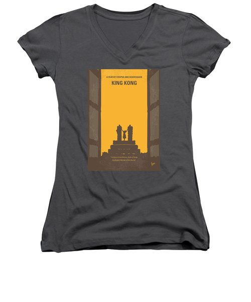 No133 My King Kong Minimal Movie Poster Women's V-Neck (Athletic Fit)